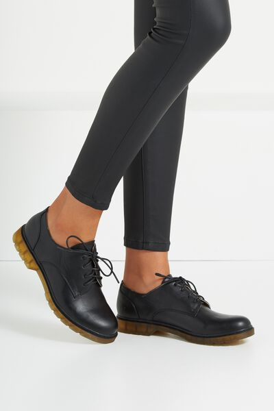 Charlie Chunky Lace Up, BLACK PU