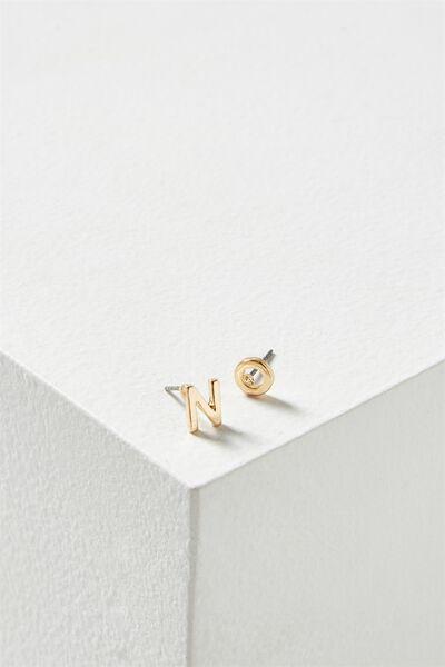 Alpha Stud Earring, GOLD - N