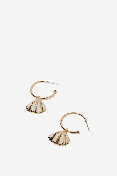 Port Shells Earring, NATURAL/GOLD