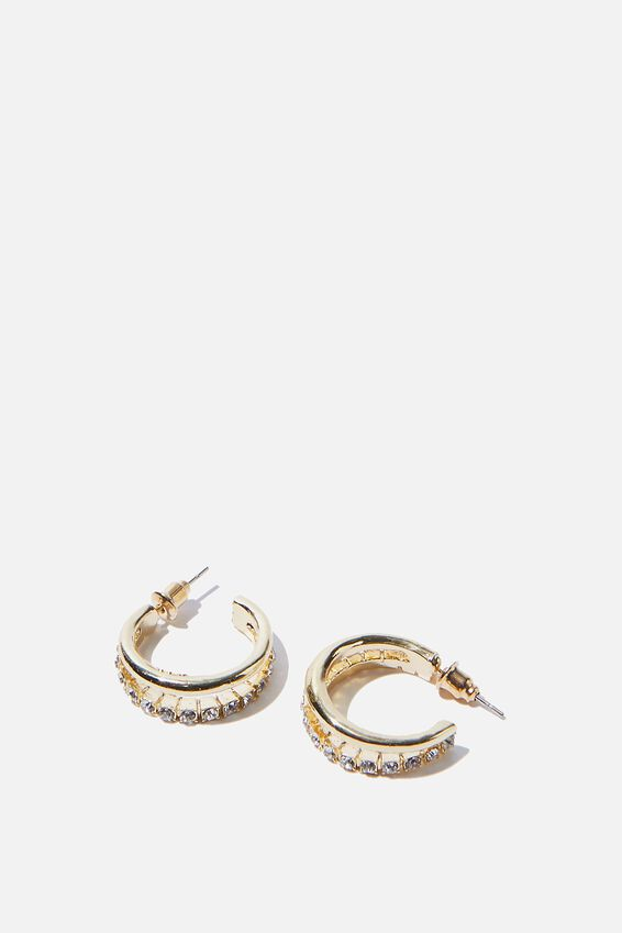 Luxe Layers Small Diamante Double Hoop, GOLD