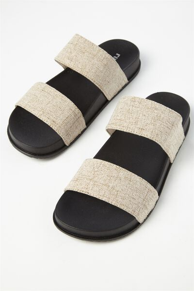 Baillie Double Strap Slide, NATURAL WOVEN