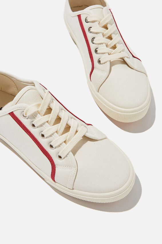 Lisa Lace Up Plimsoll, ECRU RED CONTRAST STRIPE