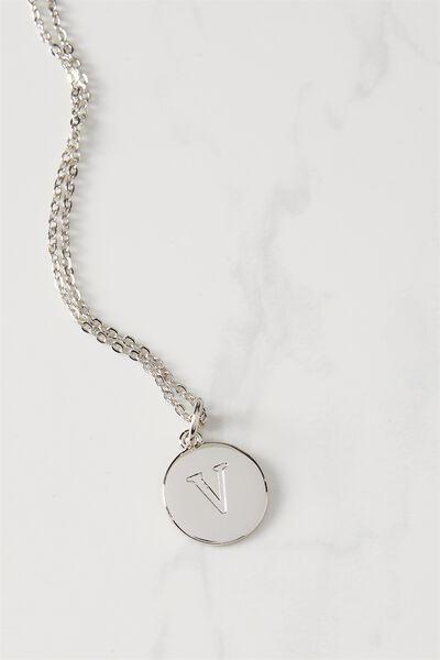 Letter Flat Pendant Necklace, SILVER - V