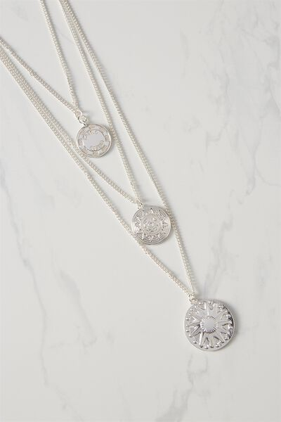 Coin Triple Layer Necklace, SILVER