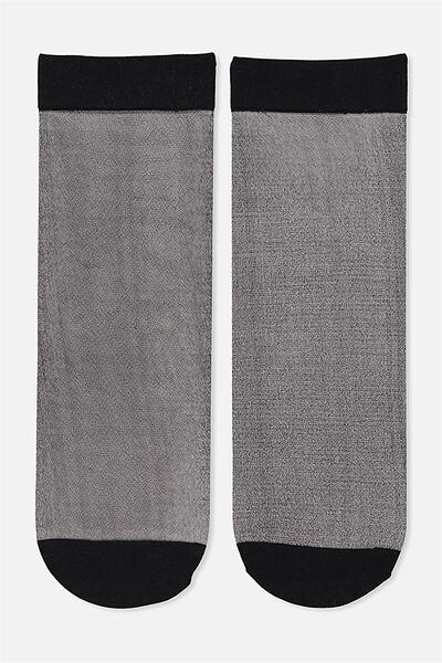 Poppy Sheer Sock, BLACK