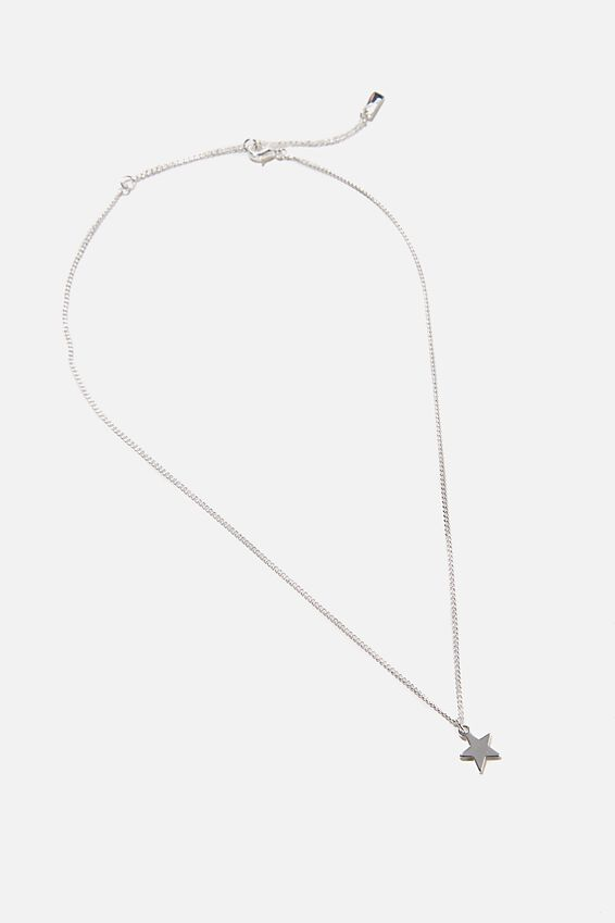 Premium Pendant Necklace, STERLING SILVER PLATED STAR