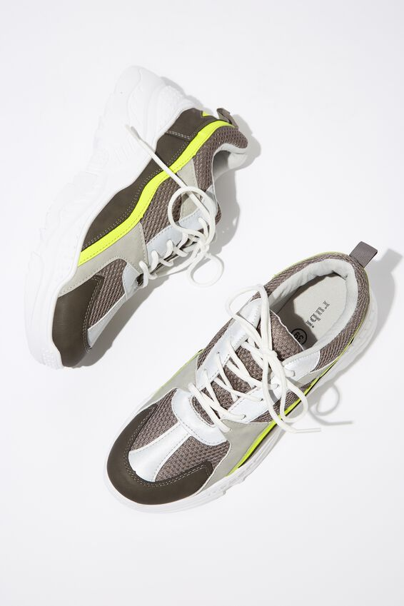 Blaze Chunky Sneaker, GREY/YELLOW MULTI