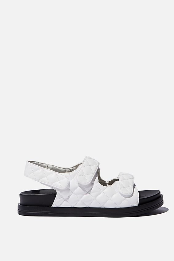 Taylor Velcro Sporty Sandal, WHITE QUILTED PU