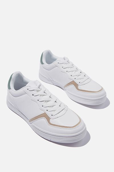 Sophia Heritage Trainer, WHITE GREEN TAUPE