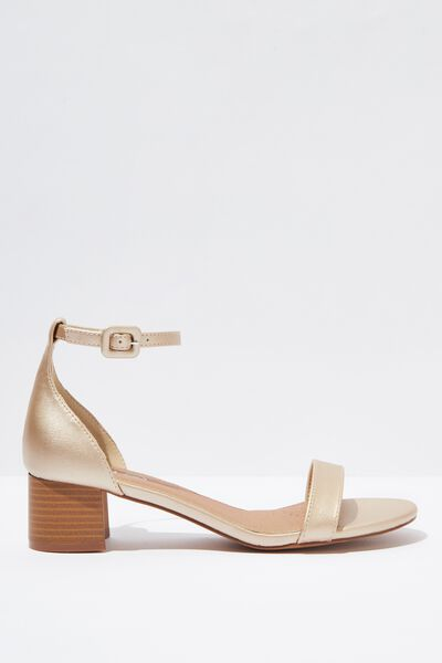 Lizzie Low Block Heel, GOLD