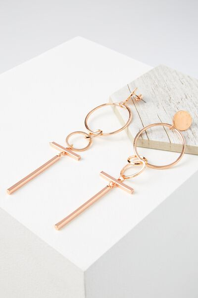 T-Bar Statement Earring, ROSE GOLD