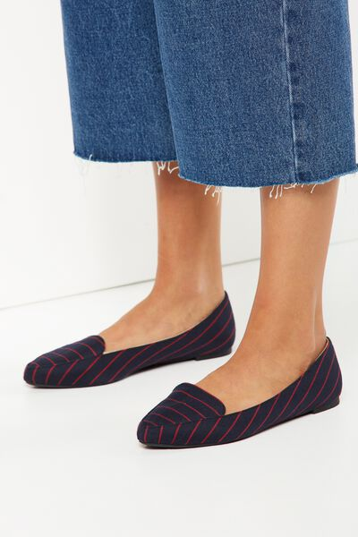 Peta Point Loafer, BLACK RED PINSTRIPE
