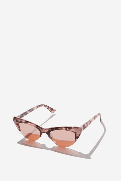 Gracie Cateye Sunglass, S.MILKY BLOSSOM/GOLD
