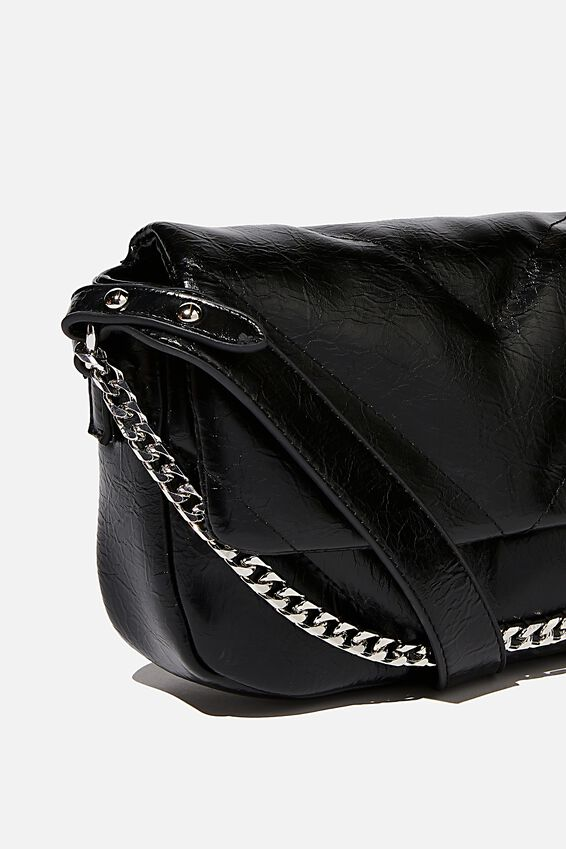 Hannah Quilted Cross Body Bag, BLACK