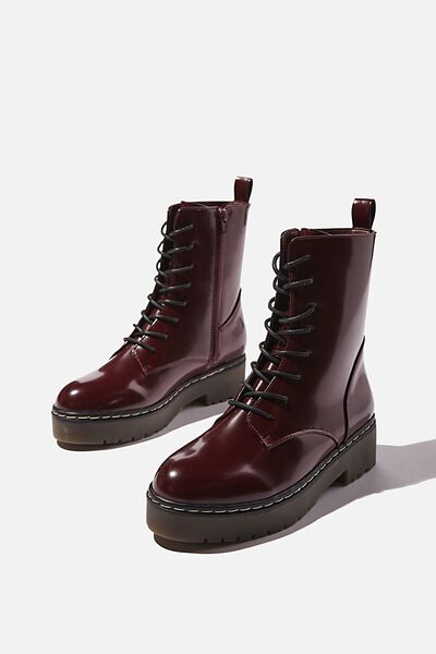 Frankie Lace Up Flatform, OXBLOOD