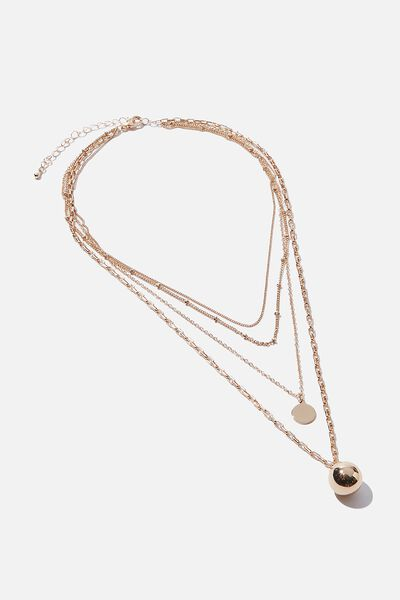 Luxe Layers Layered Sphere Necklace, GOLD