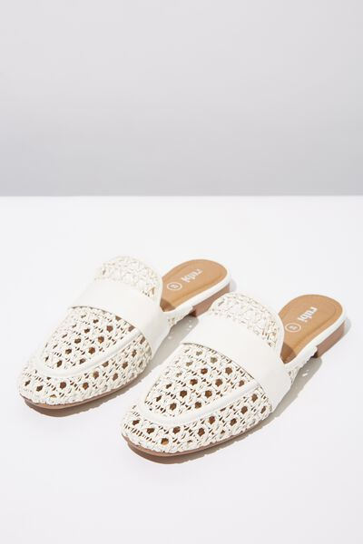 Kandy Woven Loafer Mule, OFF WHITE