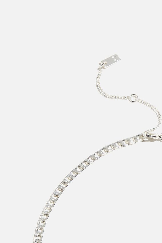 Premium Single Chain Necklace, STERLING SILVER PLATED CURB