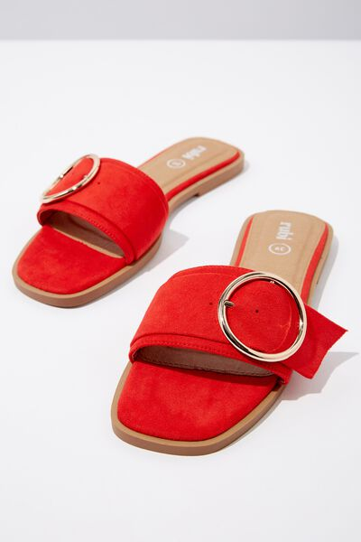 Halle Buckle Slide, RED MICRO