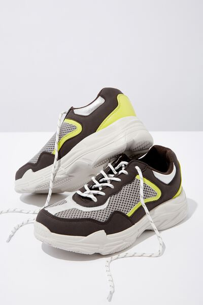 Erika Chunky Trainer, GREY/LIME MULTI