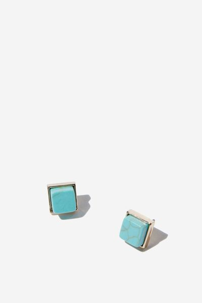 Verity P&T Stud, TURQUOISE/GOLD