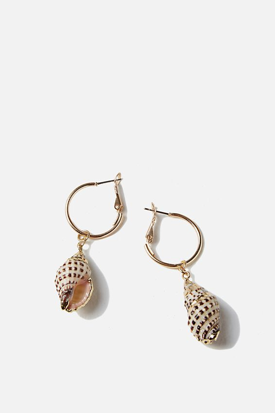 South Bay Earring, GOLD/SHELL