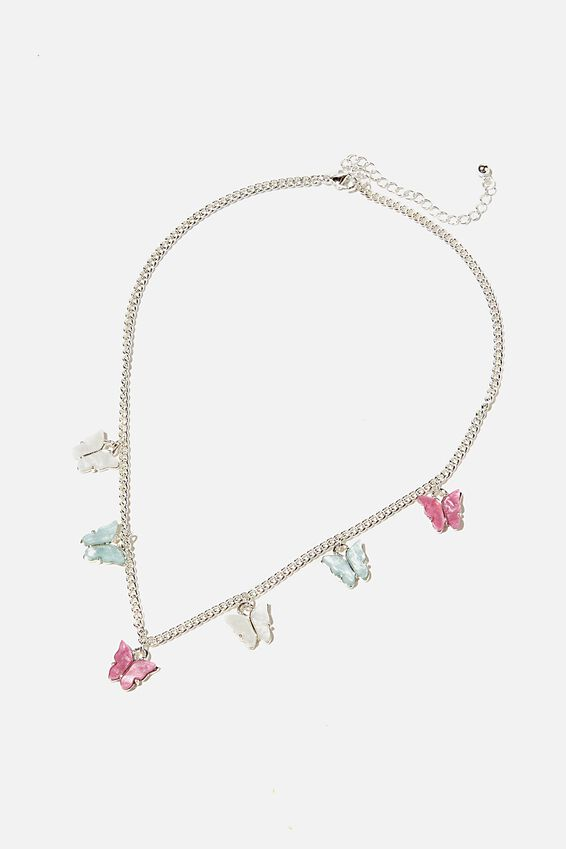 Brighter Days Charm Necklace, BUTTERFLY PASTEL SILVER