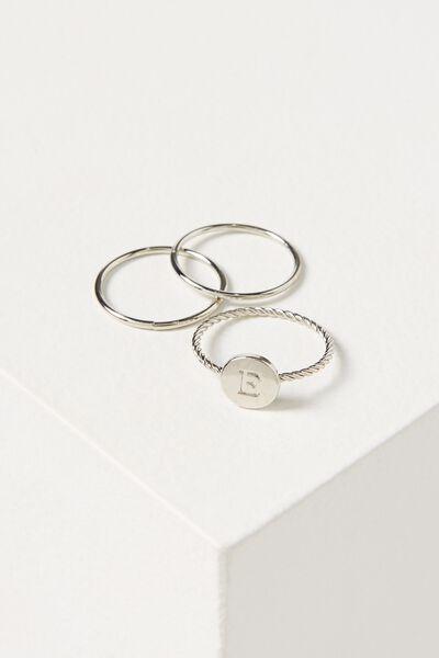 Letter Pendant Ring, SILVER - E