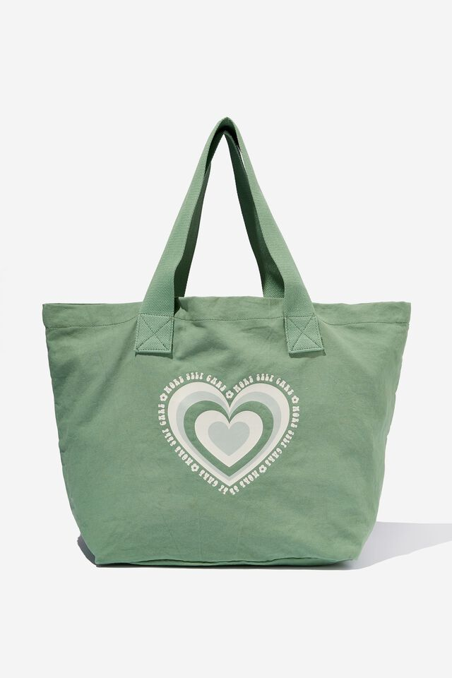 Everyday Canvas Tote, LOVE HEART/GREEN