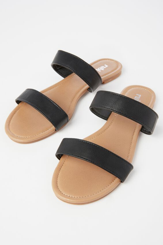 Everyday Double Thin Strap Slide, BLACK PU