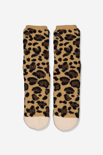 Coc Loungin Round Sock, MIA LEOPARD