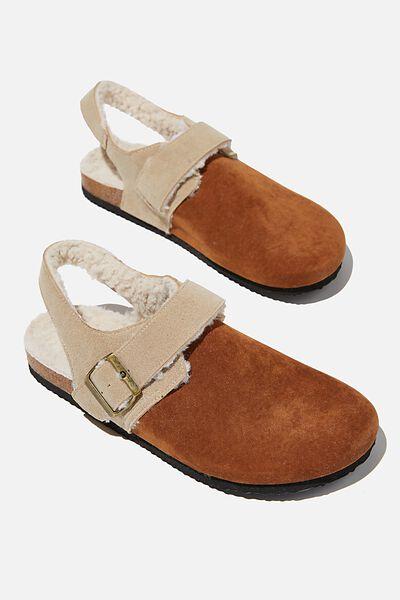 Rex Closed Toe Slingback Sandal, NEUTRAL ROUGH MICRO/BROWN