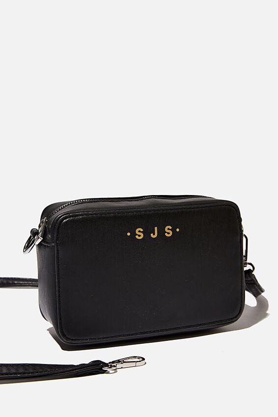 Personalized Stevie Boxy Cross Body Bag, BLACK