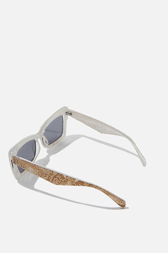 Monte Square Frame Sunglasses, SNAKE SKIN