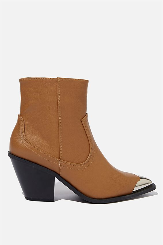 Clarence Western Boot, TAN SMOOTH