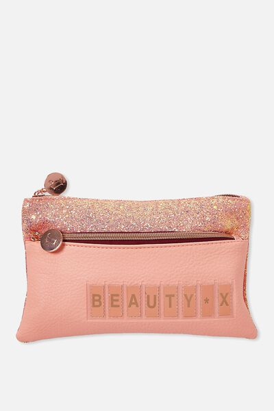 Personalised Dual Zip Cosmetic Case, PEACH BUD