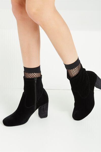 Brighton Sock Boot, BLACK VELVET