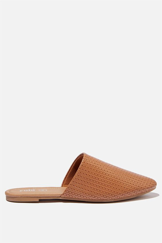Essential Avery Almond Toe Mule, TAN WOVEN EMBOSS PU