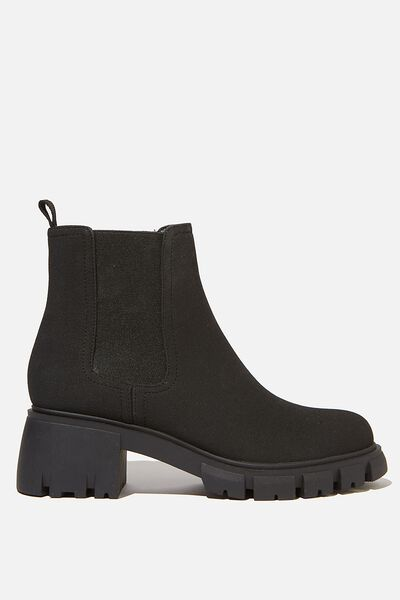 Kaia Combat Gusset Boot, BLACK SUEDE PU