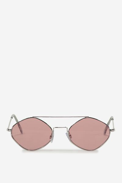 Hexy Top Bar Sunglasses, PINK/SILVER
