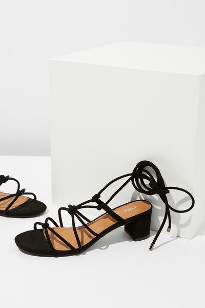 Victoria Knot Heel, BLACK MICRO
