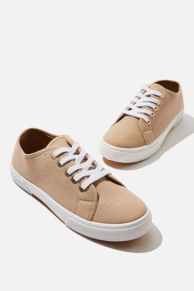 Lisa Lace Up Plimsoll, STONE
