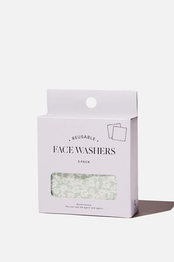 Reusable Face Washer 3Pk, SOPHIE DITSY/SPRING MINT