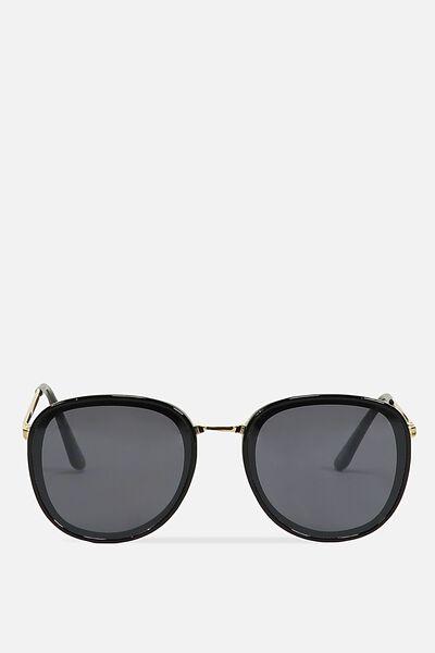 Kinsley Round Sunglasses, BLACK