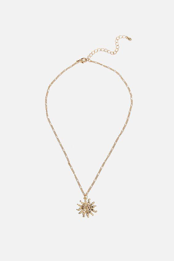 Treasures Short Pendant Necklace, GOLD SUN