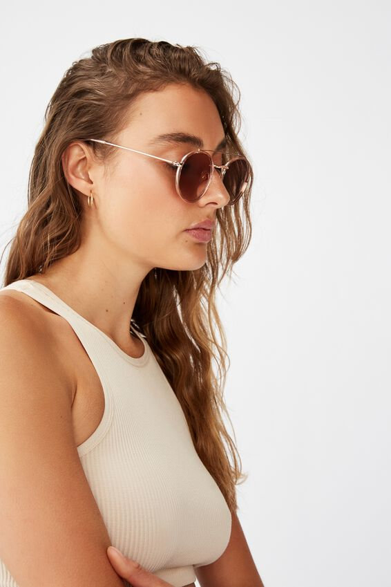 Demi Top Bar Metal Sunglasses, ROSE GOLD