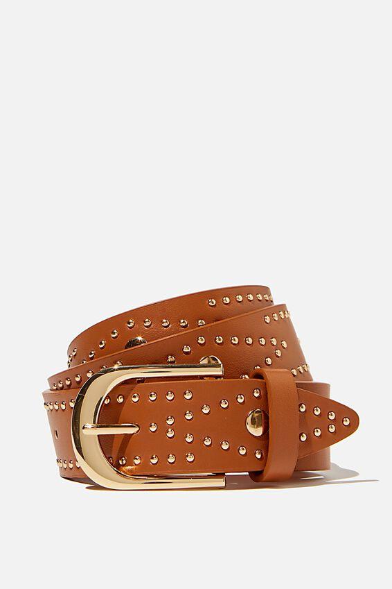 Fashion Studded Belt, TAN W GOLD