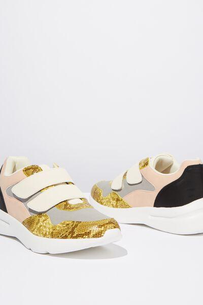 Zaya Strap Chunky Sneaker, YELLOW SNAKE PRINT MULTI