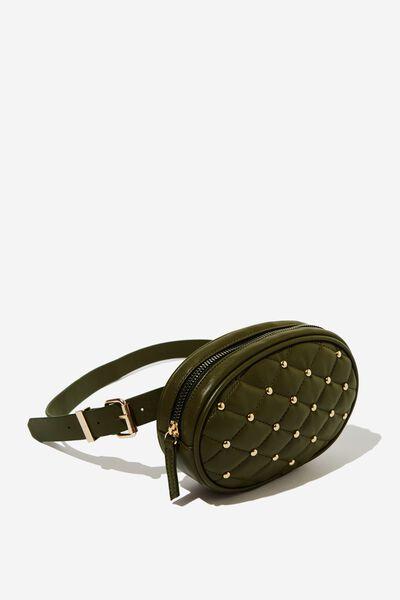 Brodie Belt Bag, KHAKI QUILTED W STUDS