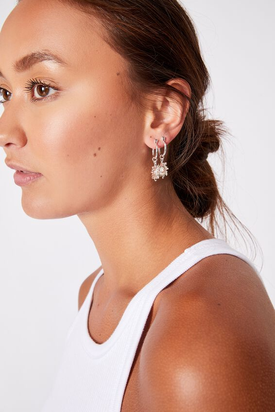 3Pk Luxe Layers Hoops, SILVER SUN MEDALLION